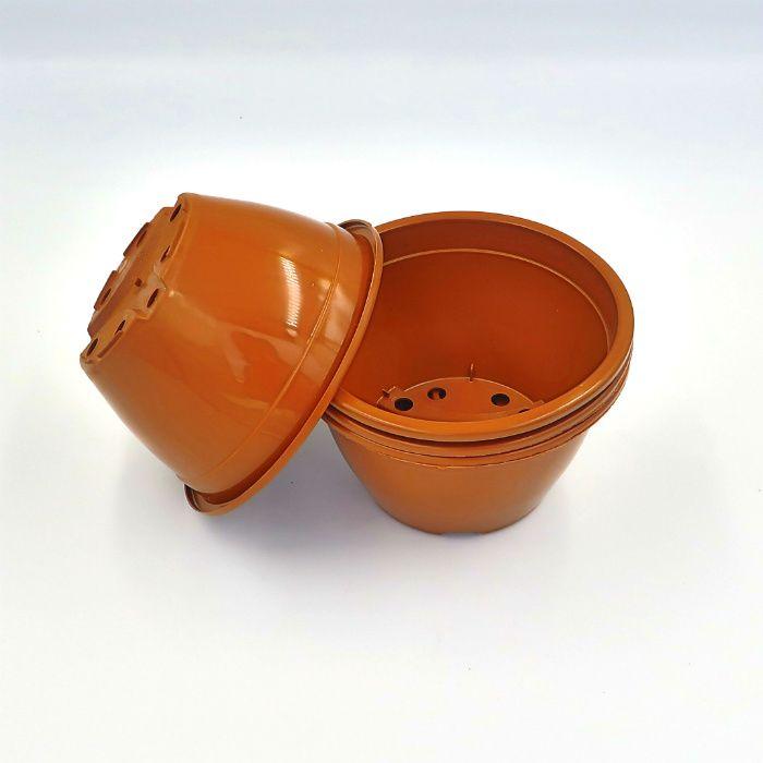 Vaso plastico - cuia 07 x 13 - marrom - kit 05 un