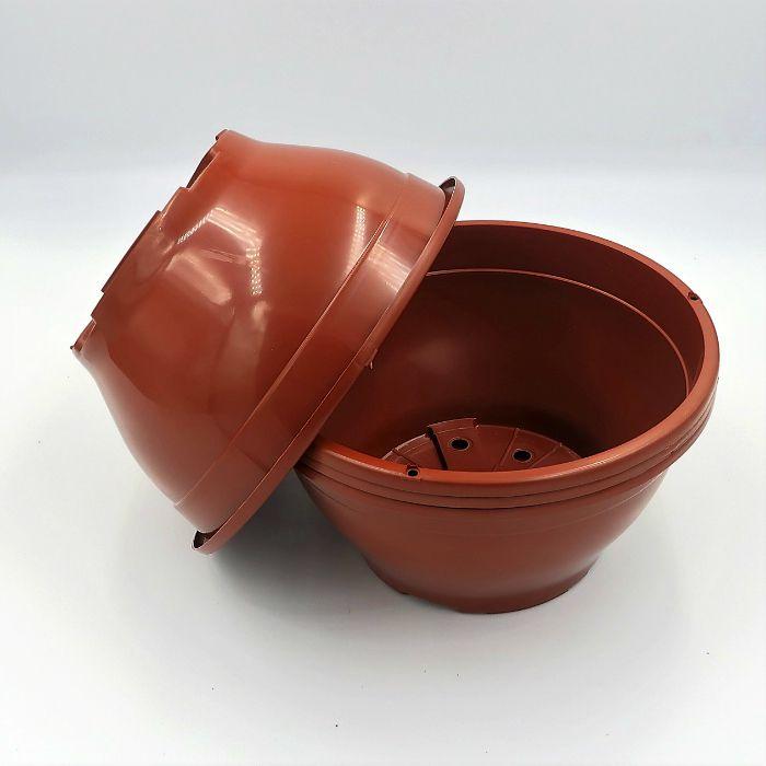 Vaso plastico - cuia 10 X 21 - marrom - kit 18 un