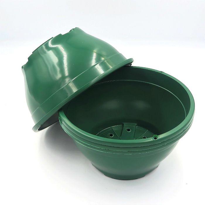 Vaso plastico - cuia 10 X 21 - verde escuro - kit 18 un