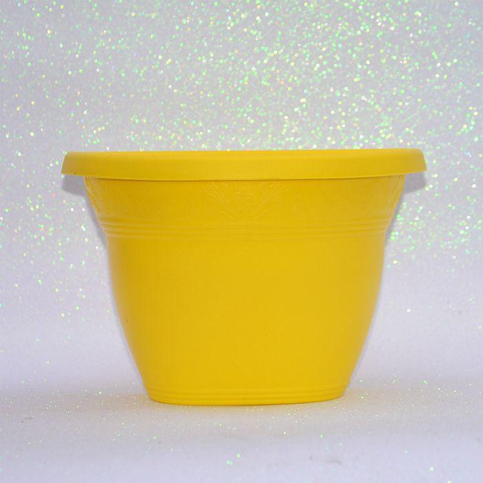 Vaso plástico de parede - vicenza - amarelo - 23 cm - kit 05 un