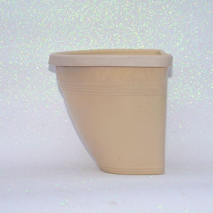 Vaso plástico de parede - vicenza - areia - 23 cm