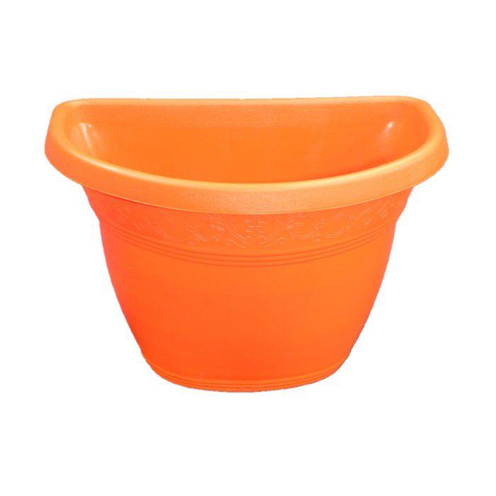 Vaso plástico de parede - vicenza - laranja - 23 cm - kit 05 un