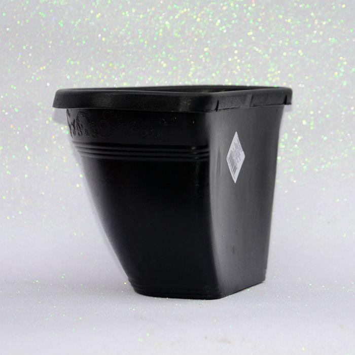 Vaso plástico de parede - vicenza - preto - 23 cm - kit 05 un