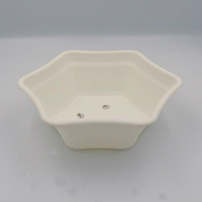 Vaso plastico hexagonal branco