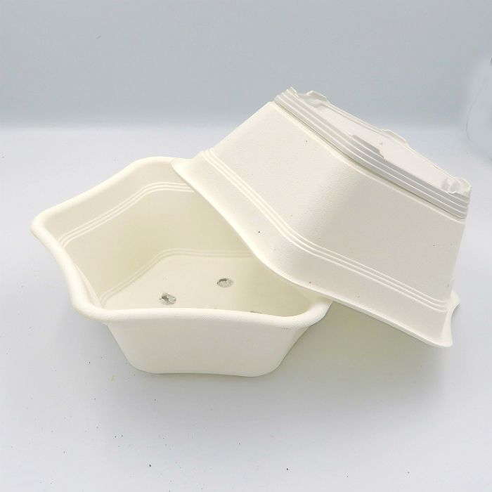 Vaso plastico hexagonal branco - kit 06 unid
