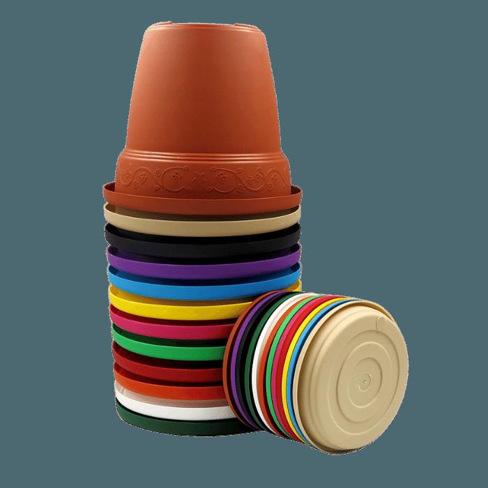 Vaso plástico - kit colorido - 10 x 13 cm - 03 unidades