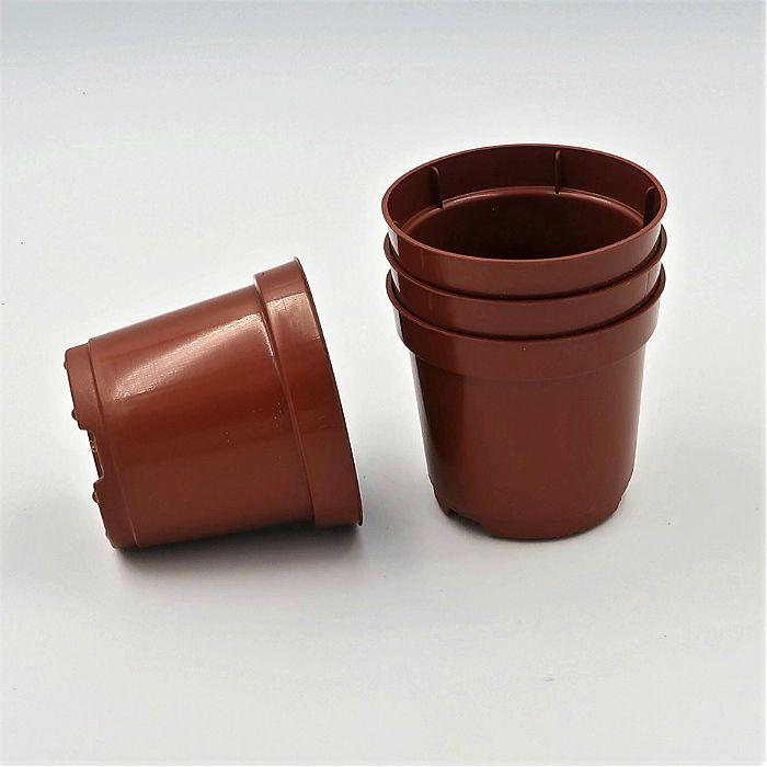 Vaso plastico - pote 06 - marrom - kit 18 un