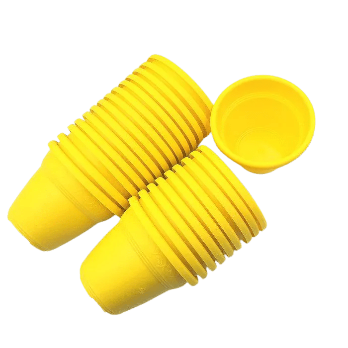 Vaso plástico  - vicenza - amarelo - 08 x 10 cm - Kit 24 unid
