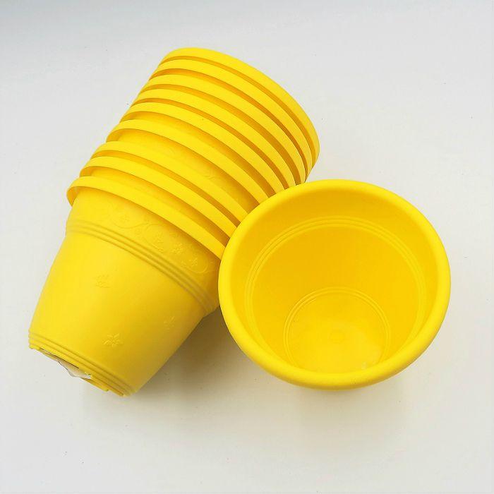 Vaso plástico  - vicenza - amarelo - 10 cm - Kit 10 un