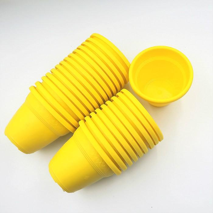 Vaso plastico - vicenza - amarelo - 10 x 13 cm - kit 24 unid
