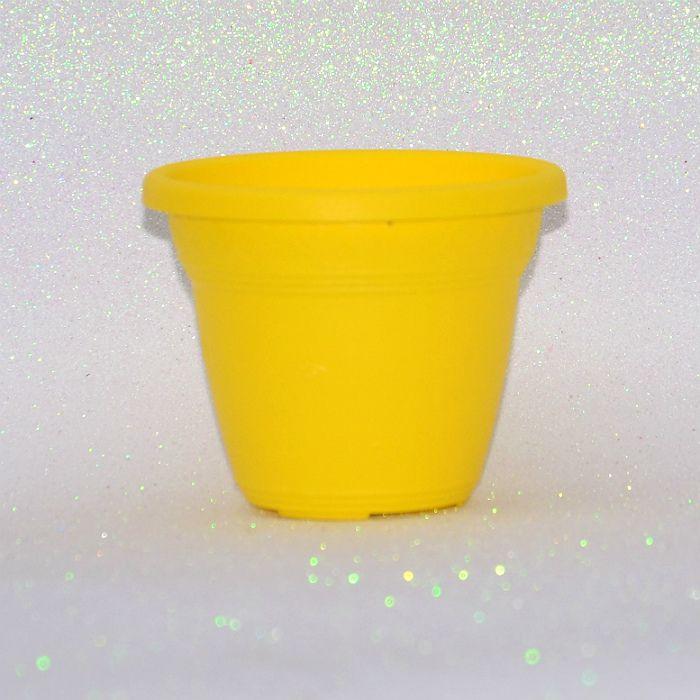 Vaso plástico - vicenza - amarelo - 10 x 13 cm