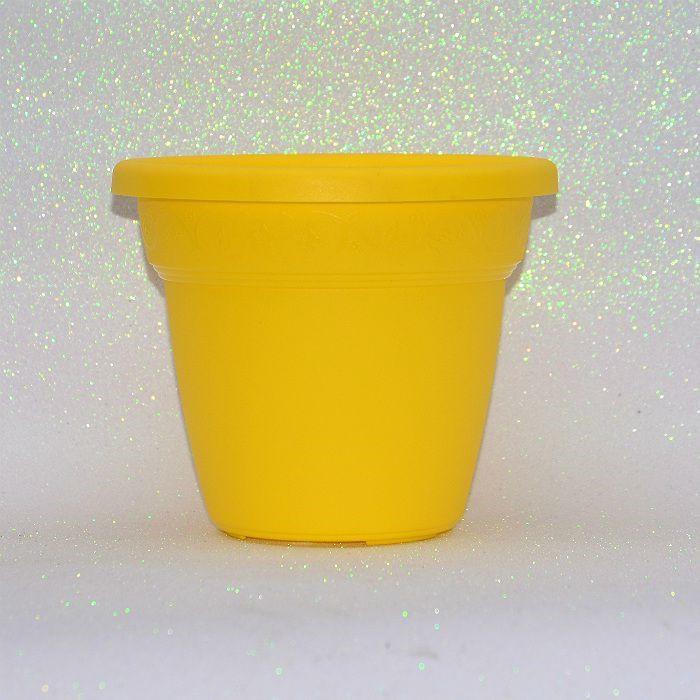 Vaso plástico - vicenza - amarelo - 13 cm - Kit 10 un