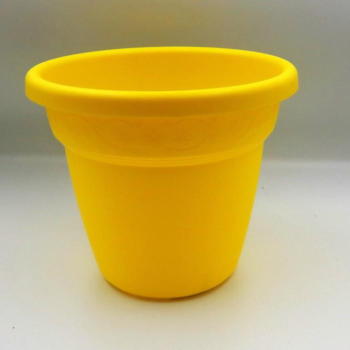 Vaso plastico - vicenza - amarelo - 16 x 19 cm - kit 06 unid