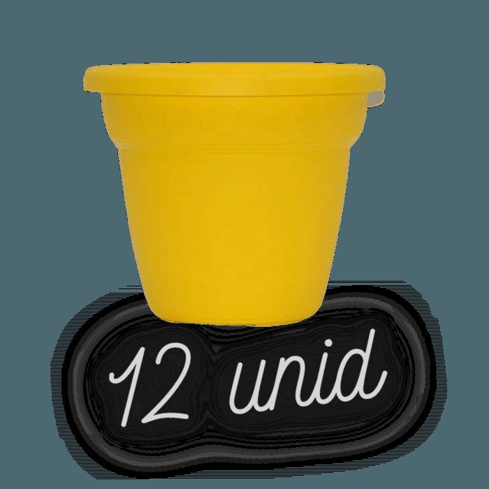 Vaso plastico - vicenza - amarelo - 16 x 19 cm - kit 12 unid