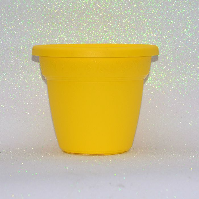 Vaso plastico - vicenza - amarelo - 19 cm - kit 05 un