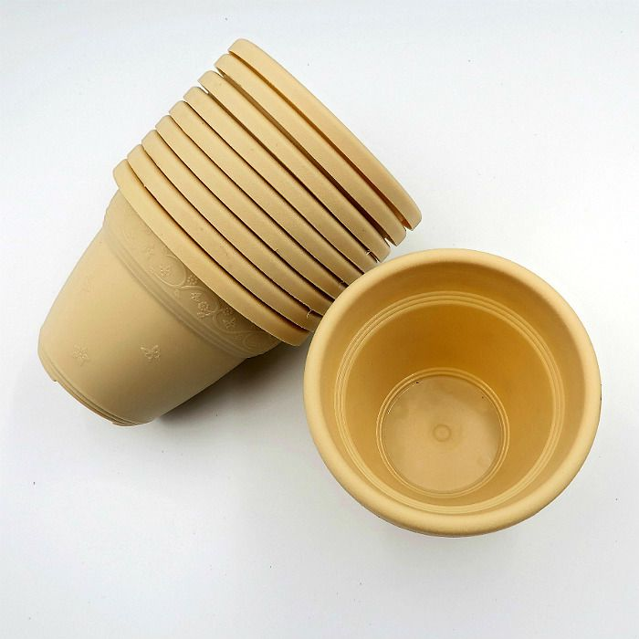 Vaso plástico  - vicenza - areia - 08 x 10 cm - Kit 10 unid