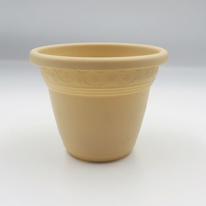 Vaso plástico  - vicenza - areia - 08 x 10 cm - Kit 24 unid