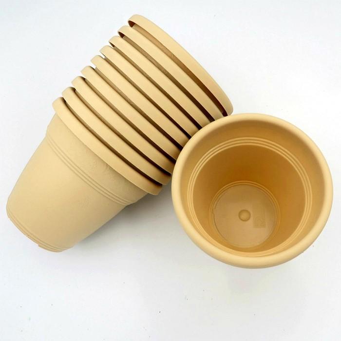 Vaso plastico - vicenza - areia - 10 x 13 cm - kit 10 unid