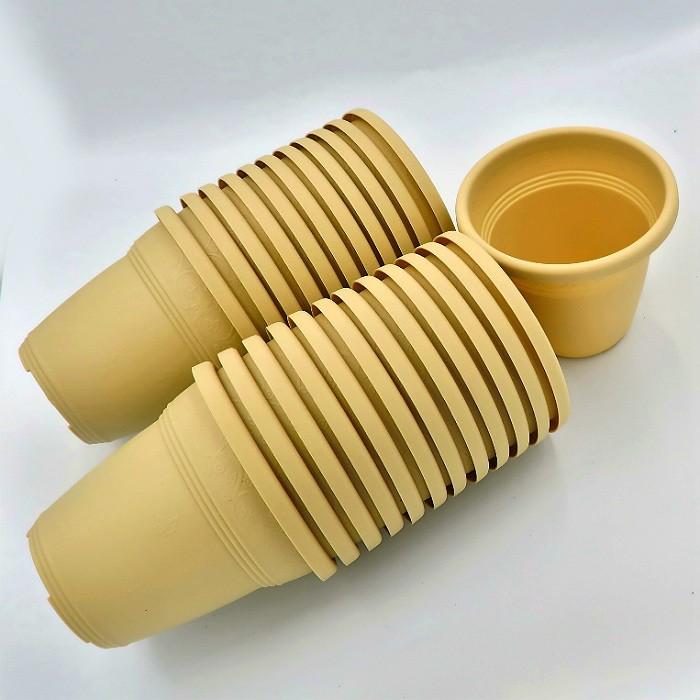 Vaso plastico - vicenza - areia - 10 x 13 cm - kit 24 unid