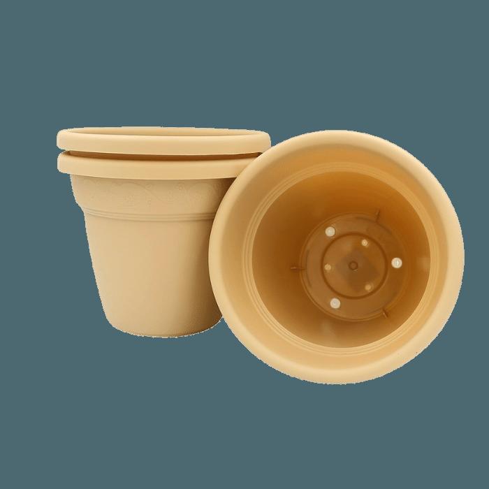 Vaso plastico - vicenza - areia - 16 x 19 cm - kit 03 unid