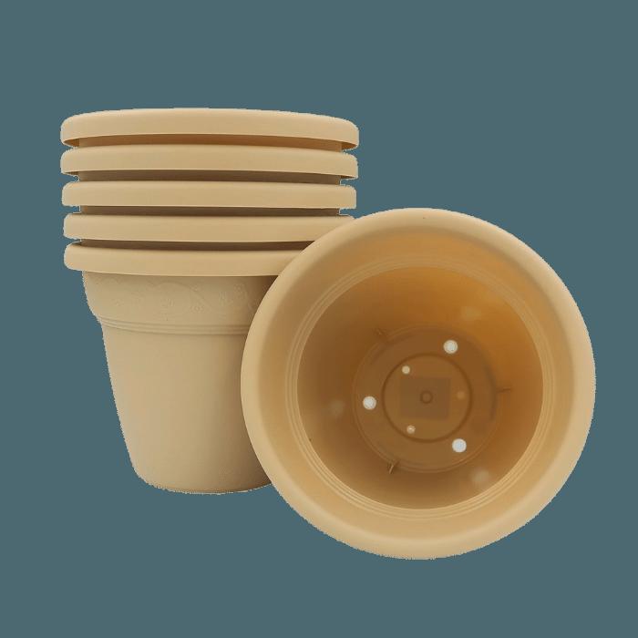 Vaso plastico - vicenza - areia - 16 x 19 cm - kit 06 unid