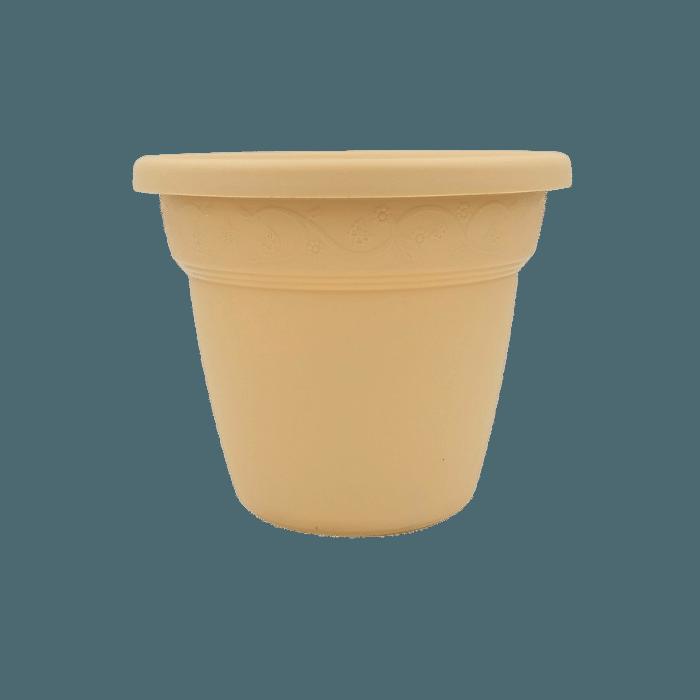 Vaso plastico - vicenza - areia - 16 x 19 cm - kit 12 unid