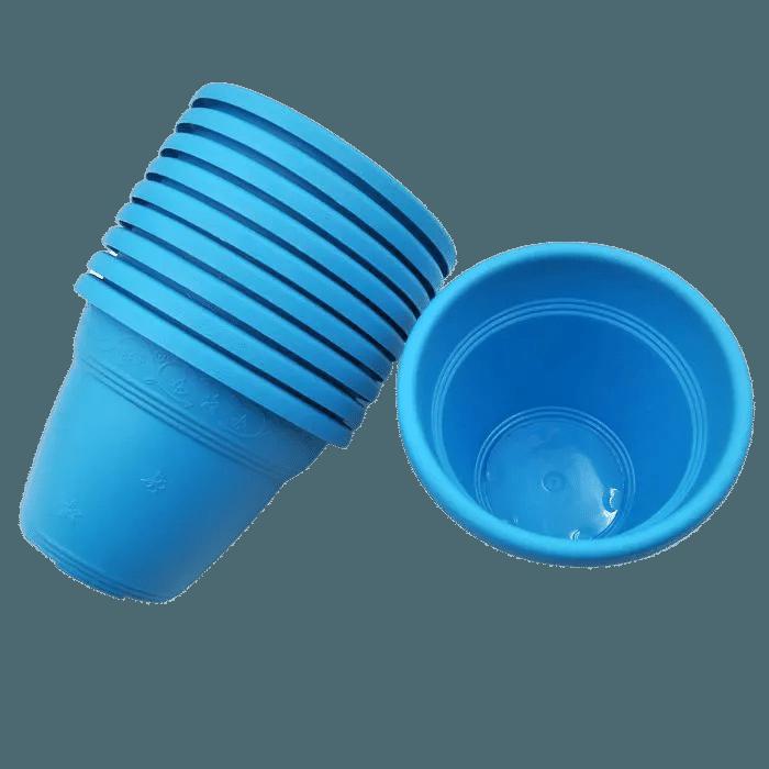 Vaso plástico  - vicenza - azul - 08 x10 cm - Kit 10 unid