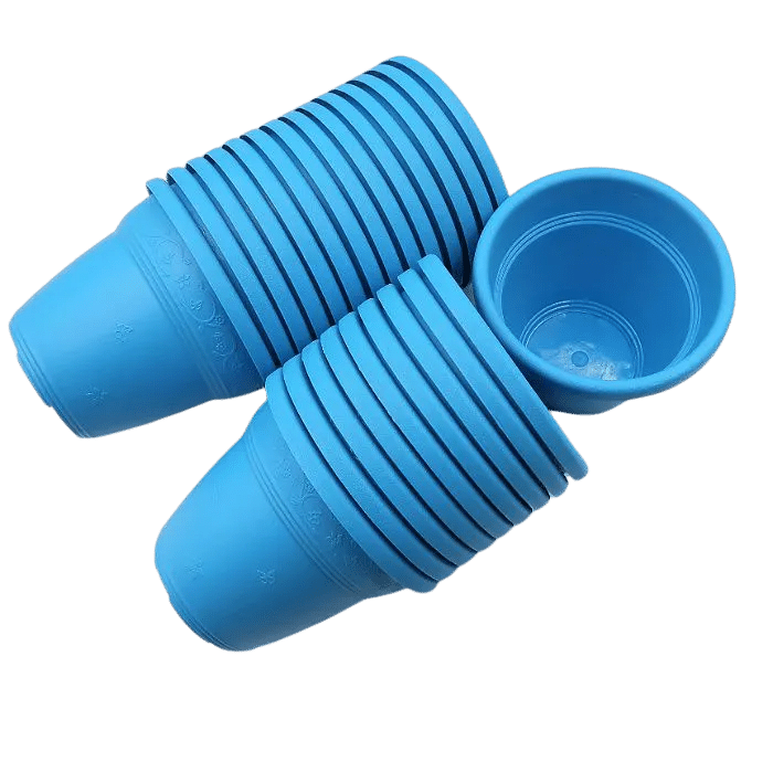 Vaso plástico  - vicenza - azul - 08 x10 cm - Kit 24 unid
