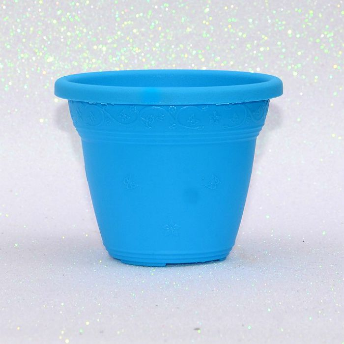 Vaso plástico  - vicenza - azul - 10 cm
