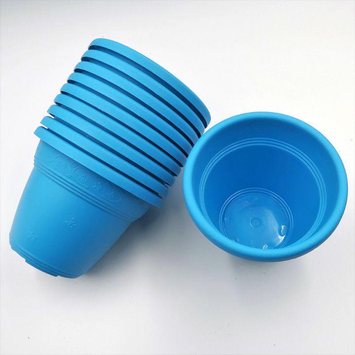 Vaso plástico  - vicenza - azul - 10 cm - Kit 10 un
