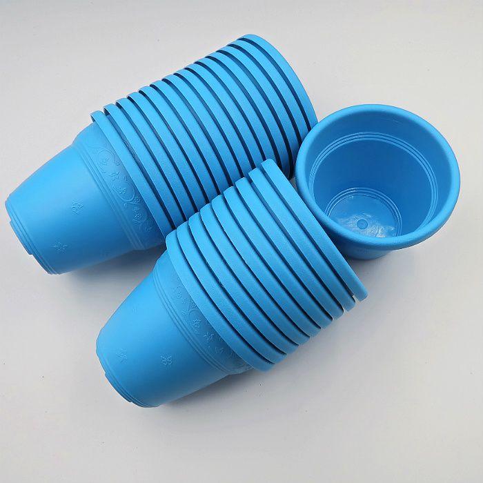Vaso plástico  - vicenza - azul - 10 cm - Kit 24 un