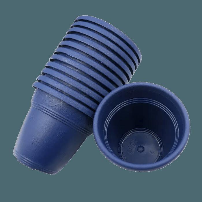 Vaso plastico - vicenza - azul marinho - 10 x 13 cm - kit 10 unid
