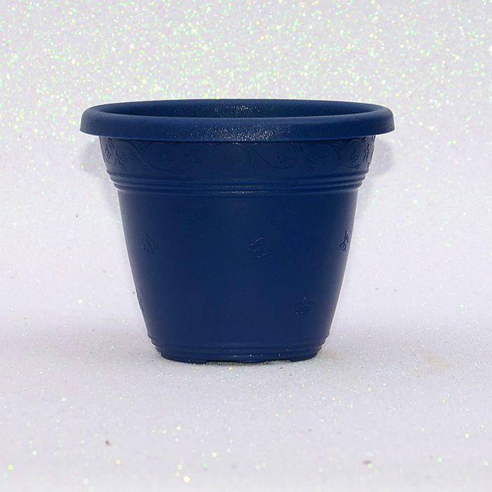 Vaso plastico - vicenza - azul marinho - 16 x 19 cm - kit 03 unid