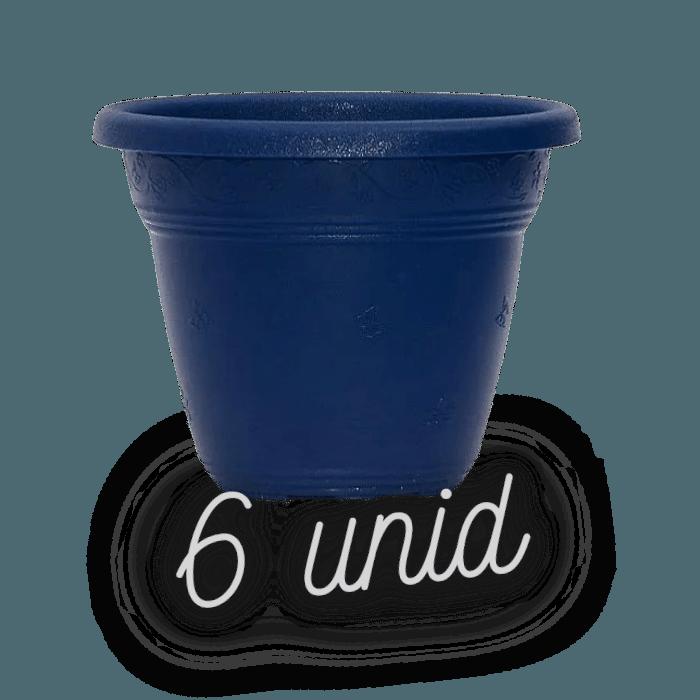 Vaso plastico - vicenza - azul marinho - 16 x 19 cm - kit 06 unid