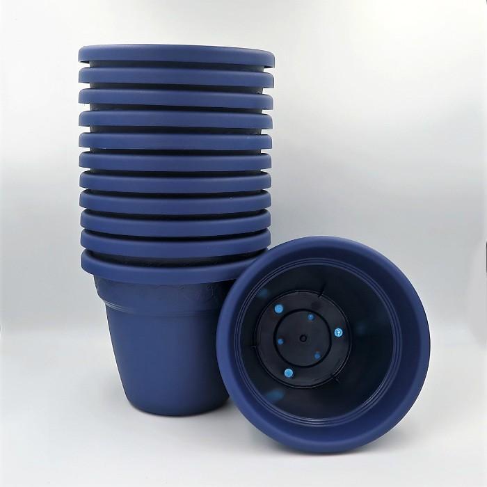 Vaso plastico - vicenza - azul marinho - 16 x 19 cm - kit 12 unid