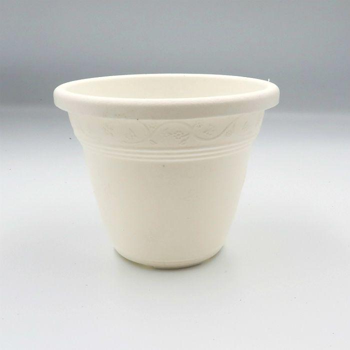 Vaso plástico  - vicenza - branco - 08 x 10 cm - Kit 24 unid