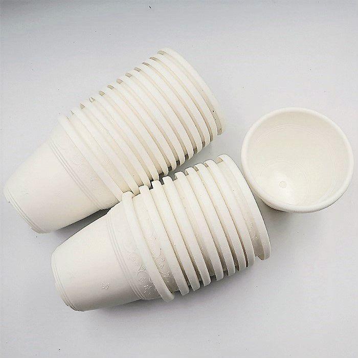 Vaso plástico  - vicenza - branco - 10 cm - Kit 24 un