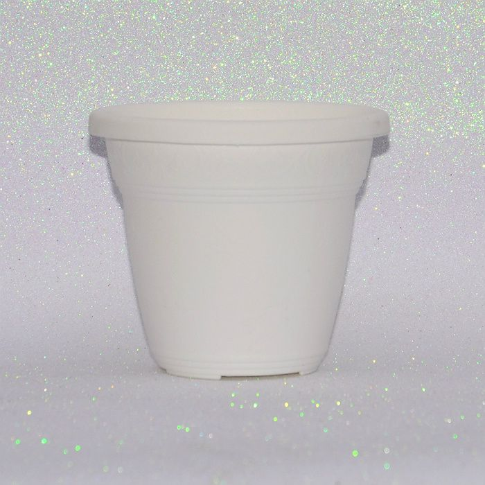 Vaso plástico - vicenza - branco - 10 x 13 cm