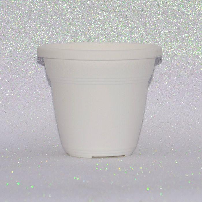Vaso plástico - vicenza - branco - 13 cm - kit 10 un