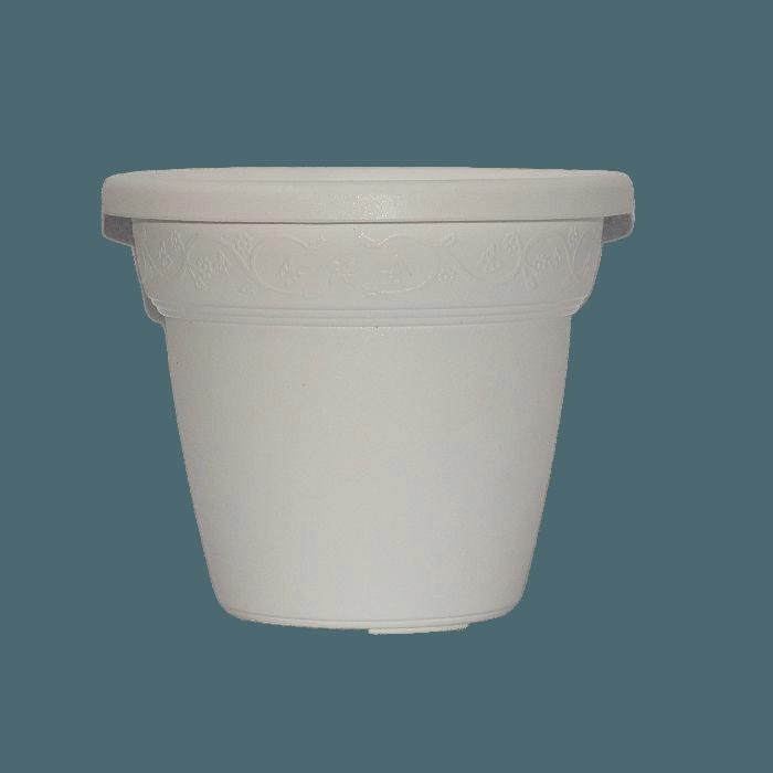 Vaso plastico - vicenza - branco - 16 x 19 cm