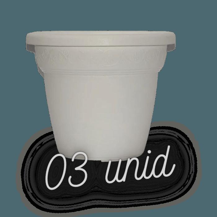 Vaso plastico - vicenza - branco - 16 x 19 cm - kit 03 unid