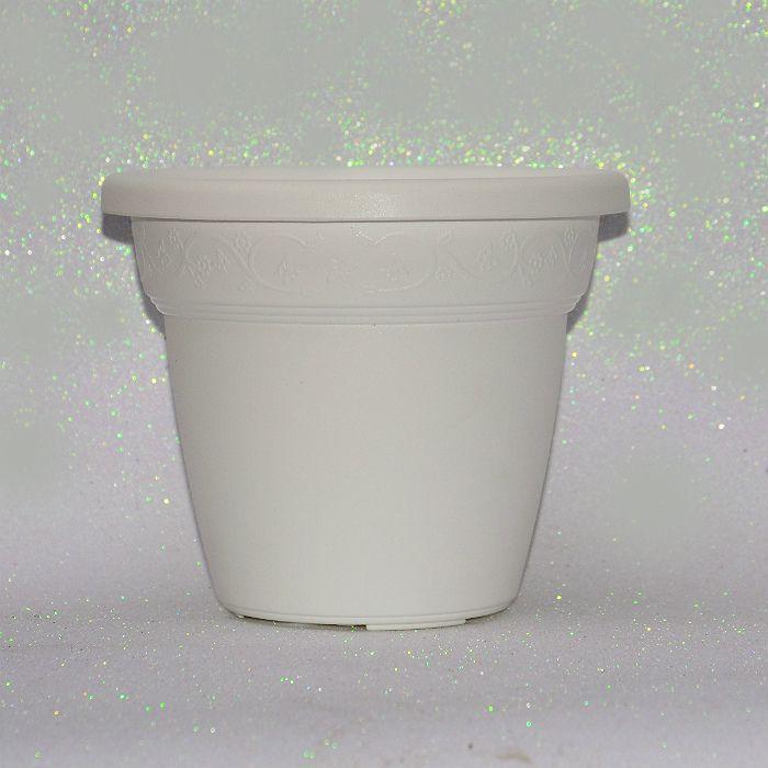 Vaso plastico - vicenza - branco - 19 cm - kit 08 un