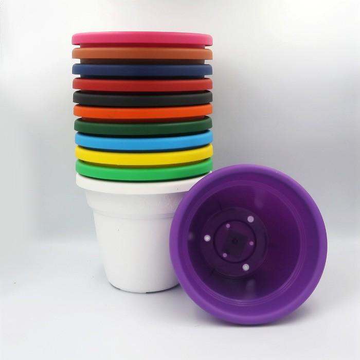 Vaso plastico - vicenza - colorido - 16 x 19 cm - kit 06 unid