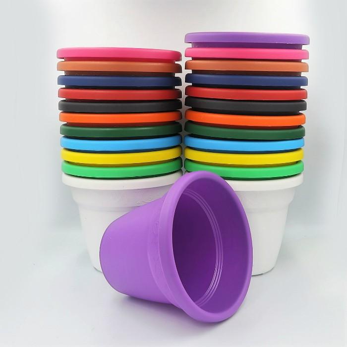 Vaso plastico - vicenza - colorido - 16 x 19 cm - kit 12 unid