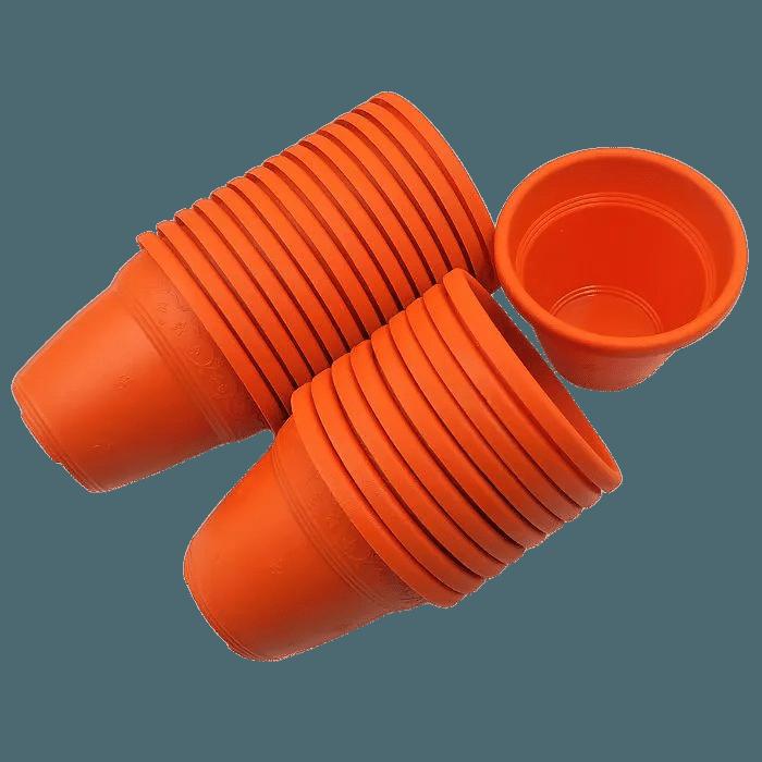 Vaso plástico - vicenza - laranja - 08 x 10 cm - Kit 24 unid