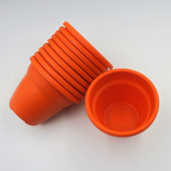 Vaso plástico  - vicenza - laranja - 10 cm - Kit 10 un