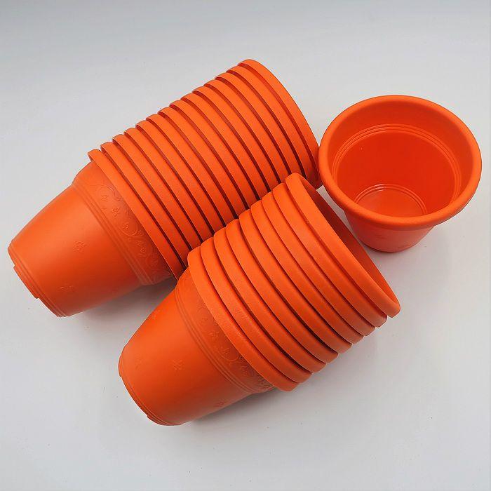 Vaso plástico  - vicenza - laranja - 10 cm - Kit 24 un
