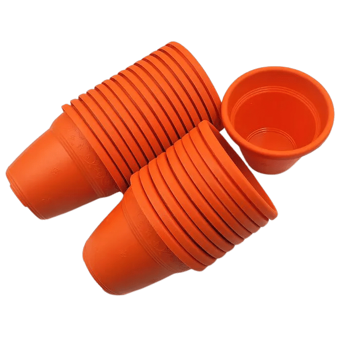 Vaso plastico - vicenza - laranja - 10 x 13 cm - kit 24 unid