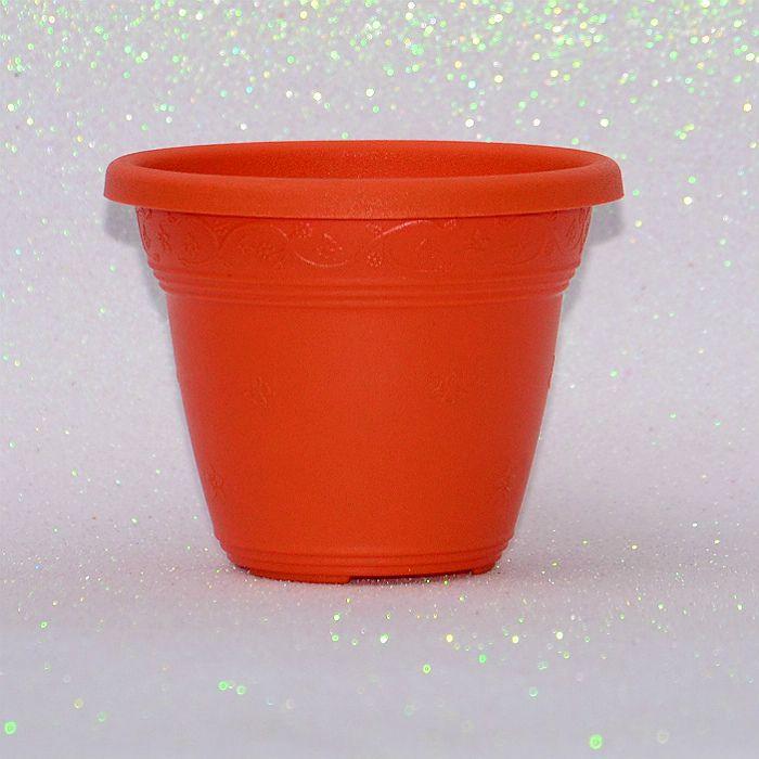 Vaso plástico - vicenza - laranja - 13 cm - Kit 10 un