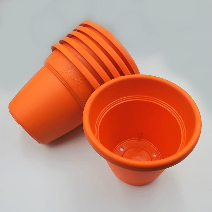 Vaso plastico - vicenza - laranja - 16 x 19 cm - kit 06 unid